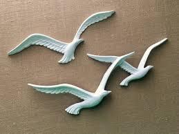 white seagulls wall decor flock o