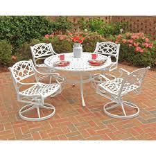 white 5 piece round swivel patio dining set