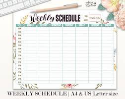 schedule weekly weekly schedule etsy