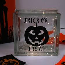 personalised pumpkin led glass block