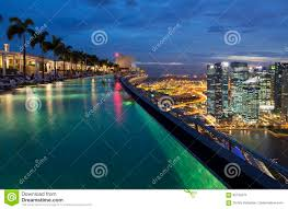 infinity pool singapore night. Infinity Pool On Top Of Marina Bay Sands Hotel Stock Image - City, Night: 92759371 Singapore Night