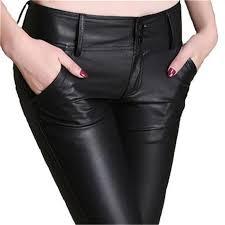 guoran 2017 winter warm pu leather pants slim skinny pencil pants faux leather trousers plus size black leggings femme
