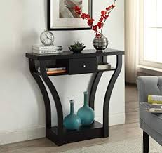 A Black Finish Curved Console Sofa Entry Hall Table With Shelf  Drawer