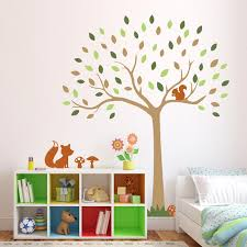woodland tree wall sticker with fox and squirrel woodland wall stickers stickerscape uk