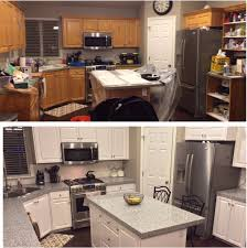 painting cabinets white before and afterPainting Oak Kitchen Cabinets Before And After With White Colors