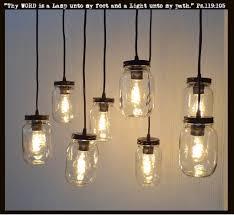 Mason Jar 8-Light Pendant Chandelier New Quart Clear ?? The Lamp Goods -