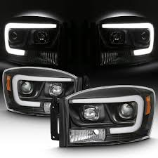 Halo Lights For 2006 Dodge Ram For 2006 2008 Dodge Ram 1500 06 09 Dodge Ram 2500 3500 Led Daytime Running Lamp Bar Projector Headlights Black Combo