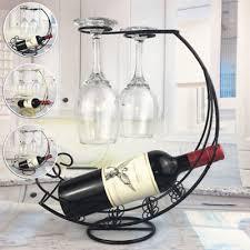 iron wine glass hanger goblet drying rack stand red wine bottle holder new