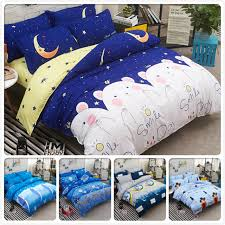 blue yellow ab side cotton 3 4 pcs bedding sets full king queen twin single