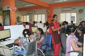 a bpo in bangalore shows how to employ the differently abled and training session in progress for non voice process executives