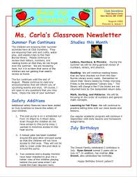 School Newsletter Template For Word 016 Kindergarten Classroom Newsletter Template Word Free