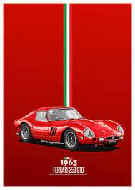 Vintage ferrari 308 art poster 34 x 22.5 a winning pair one stop posters1985. Ferrari 1963 250 Gto Pixel Art Poster Vintage Retro Racing 22in X 17in Art Print Ebay