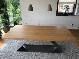 Design Esstisch Metall Eiche Massivholz