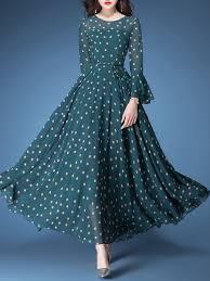 Unique Designer Dresses Online Shop Maxi Dresses Dark Green Vintage Polka Dots A Line