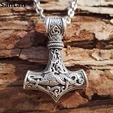 1pcs dropshipping thor s hammer mjolnir pendant viking necklaces pendants jewelry scandinavian with 50cm metal chain
