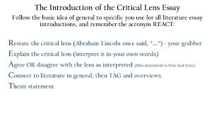 the critical lens essay one of the writing tasks on the  4 the introduction