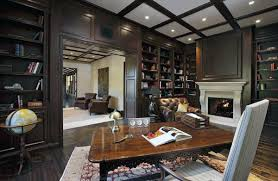 library office. Private Home Library Traditional Office With Stone Fireplace Room