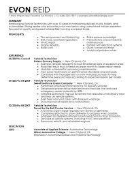 Automotive Technician Resume Sample