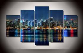 2018 5 panel framed printed new york city painting on canvas room decoration print poster picture canvas living room wall decor paint from kittyfang