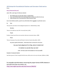 Apa Format For Parenthetical Citations And Literature Cited Entries