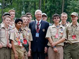 the twelve apostles pares in the groundbreaking of the thomas s monson leadership excellence plex with local boy scouts in glen jean w va