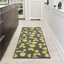 ottomanson lemon collection contemporary grey lemons design runner rug with non slip kitchen