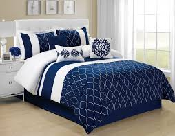 queen size navy blue pattern bedding sets