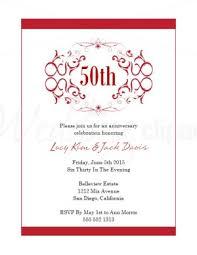 Printable Red Flourishes Wedding Anniversary Invitations Template