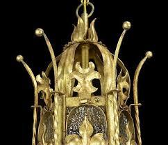 antique lantern chandelier vintage gold leaf gilt gilded red tole light old 441826831
