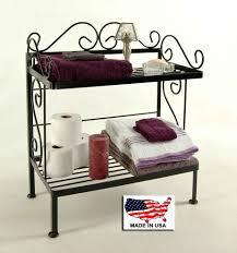 wrought iron bathroom shelf. 18 Inch Wrought Iron Bathroom Storage Rack In Black Finish 24 2 Shelf Bath With Towels And Toiletries E