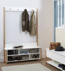 Coat Rack Shoe Storage Bench Beauteous Oak And White Melamine Hallway Storage Bench And Coat Rack For The