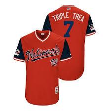 Jersey 2018 Triple Trea Men's 7 Turner - Weekend Red Washington Nationals Players
