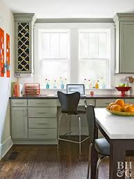 office in kitchen. Light Green Kitchen Cabinet With Built In Office M