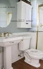 next move on to your sink toilet and bathtub or shower if you don t use a tub or shower regularly you don t need to clean it weekly and quickly spray