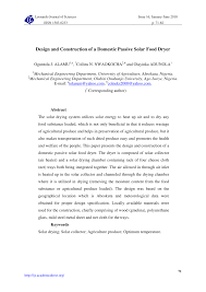 Design And Construction Of Solar Fish Dryer Pdf Design And Construction Of A Domestic Passive Solar