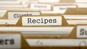 recipes concept word on folder register of card index selective focus