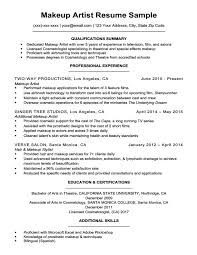 Cosmetology Sample Resume Makeup Artist Resume Sample Resume Companion