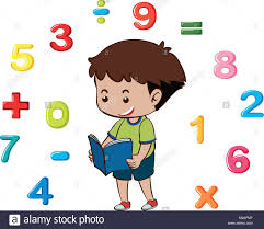 boy reading book with numbers in background ilration stock vector