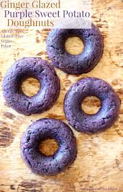 ginger glazed purple sweet potato doughnuts gluten free allergy free vegan