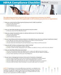 Comprehensive Hipaa Compliance Checklist Vertical Solutions