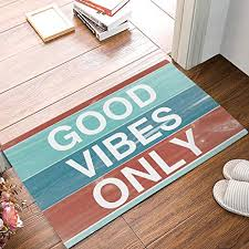 colorful welcome mat.  Colorful Libaoge GOOD VIBES ONLY With Colorful Rustic Wood Background Doormat  Welcome Mat Entrance Indoor Intended