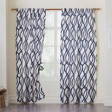 cotton canvas scribble lattice curtains set of 2
