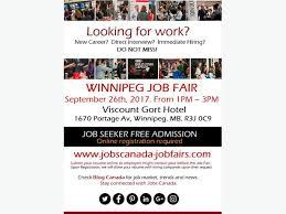 Free Winnipeg Job Fair Tuesday September 26th 2017 Outside