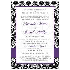 Black And Purple Invitations Photo Template Wedding Invitation Black And White Damask Purple Ribbon Joined Hearts