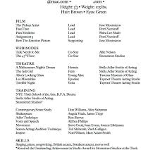 Sample Acting Resume With No Experience Acting Resume No Experience Template Format Fascinating Child Stock 56