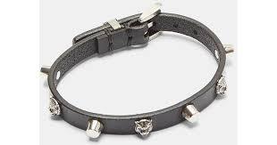 gucci feline head studded leather bracelet in black and silver in black for men lyst