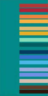 Pastel turquoise colors and green-blue color combinations for modern  interior decorating with yellow color accents