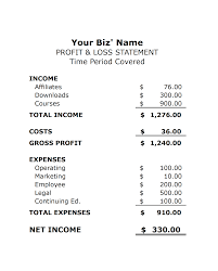 Create Profit And Loss Statement In Excel Monthly Income
