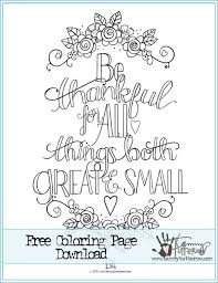 Free Coloring Page Be Thankful For All Things Adult Coloring