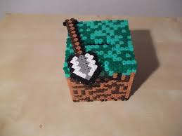 minecraft cube made of fuse beads by capricornc5 on minecraft cube money box by capricornc5